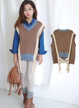 "Max Knit Vest <br> <font color=""#9f9f9f"">♡ calm tone down color ♡ <br> * Both sides of the back point *</font>"