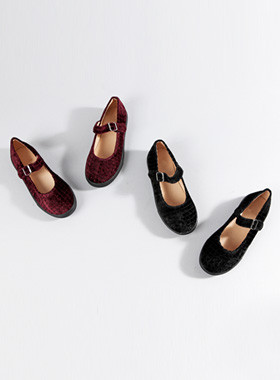 Square Velvet Mary Jane Shoes