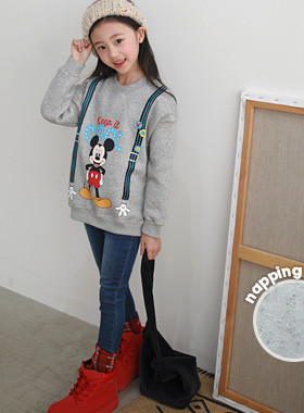 "Cool suspenders Mickey brushed man-to-man <br> <font color=""#9f9f9f"">♡ cute Mickey character ♡ <br> * Brushed lining warm *</font>"
