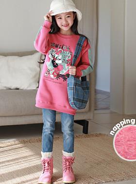 "Hanging brushed Long man-to-man <br> <font color=""#9f9f9f"">♡ girls pink pink ♡ popular <br> * Sense the color of the sleeves *</font>"