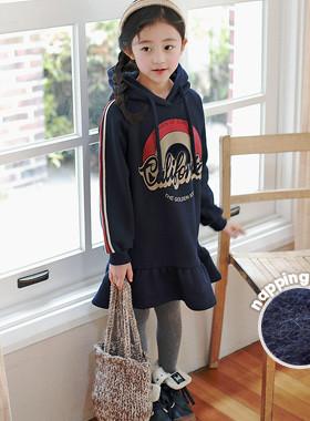 "Calico hooded brushed dress <br> <font color=""#9f9f9f"">˙ Trendy casual dress ˙ <br> Girl skirt skirt</font>"