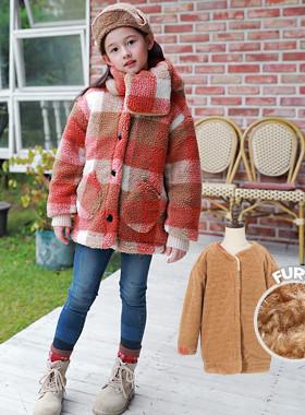 Berry-to-check checkered jacket (mufflerSET)